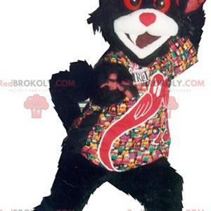 Zwart-witte en rode katmascotte - Redbrokoly.com