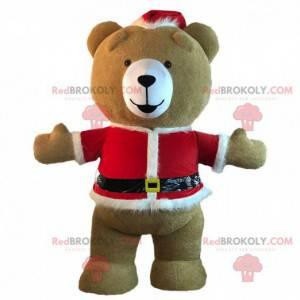 Maskot medvídek oblečený v nafukovací vánoční oblečení -