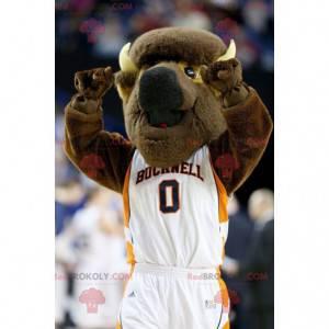 Mascotte di bufalo marrone in abbigliamento sportivo -