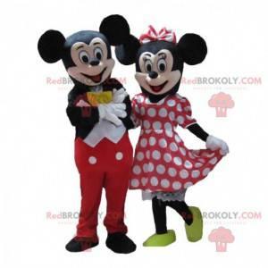 2 maskotter af Mickey og Minnie, berømt par fra Disney -