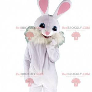Fato de coelho branco e rosa com orelhas grandes -