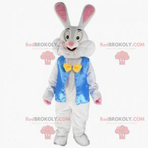 Hvid kanin kostume med en blå jakke - Redbrokoly.com