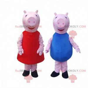 2 mascotte di maiale, una ragazza e un ragazzo, costumi di