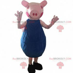 Pink pig costume with a blue outfit - Redbrokoly.com