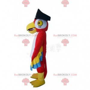 Costume da pappagallo rosso, con cappello da pirata -