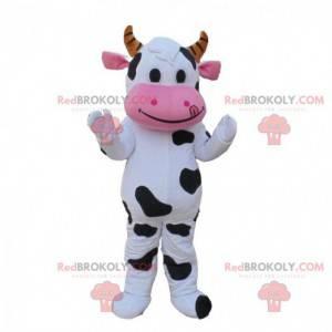 Costume da mucca bianco, nero e rosa, costume da mucca -