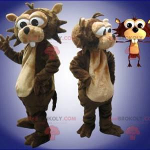 Mascote castor marrom e bege - Redbrokoly.com