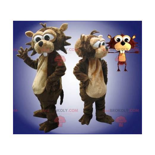 Hnědý a béžový bobr maskot - Redbrokoly.com