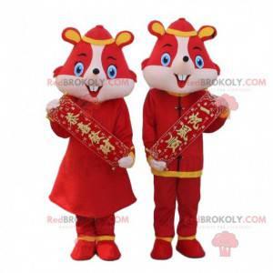 2 disfarces de ratos vermelhos, hamsters em roupas asiáticas -