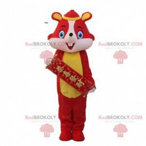 Traje de rato vermelho em vestido tradicional chinês -