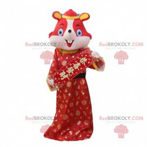 Rød musekostume i traditionel kinesisk kjole - Redbrokoly.com