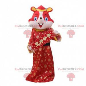 Rotes Mauskostüm im traditionellen chinesischen Kleid -