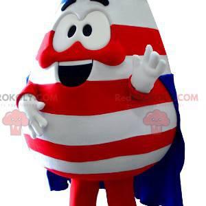 Mascote em forma de gota nas cores dos Estados Unidos -
