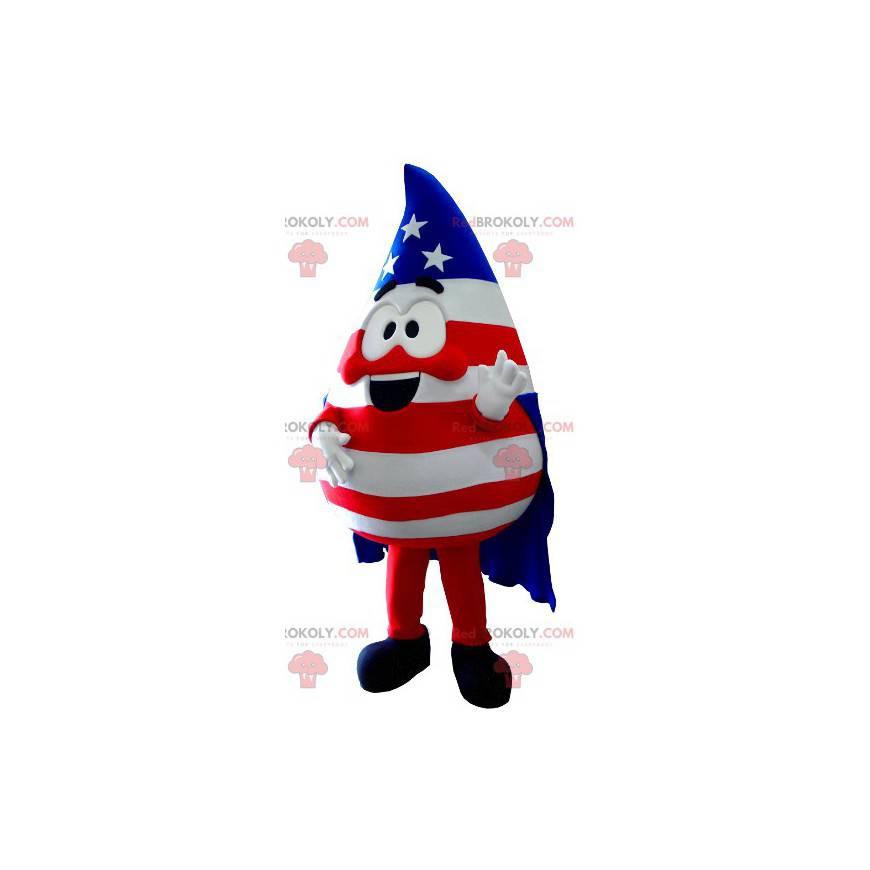 Maskot ve tvaru kapky v barvách Spojených států - Redbrokoly.com