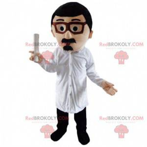 Mustached man mascot with glasses - Redbrokoly.com