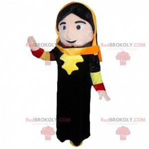Traje de mulher oriental, mascote de mulher com véu -