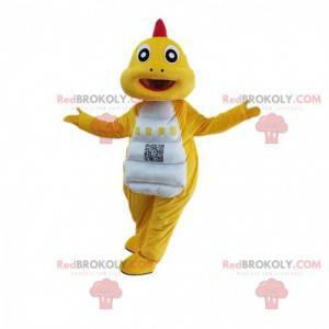 Fato de dinossauro amarelo e branco, fantasia de dragão -