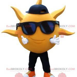 Mascote em forma de sol amarelo com óculos de sol -