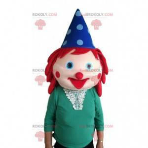 Testa di pagliaccio gigante con i capelli rossi e un cappello -