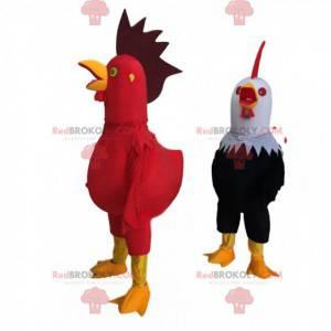 2 obří a barevné kohoutí kostýmy, farmářský kostým -