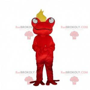 Disfraz de rana roja con mechón de pelo amarillo -