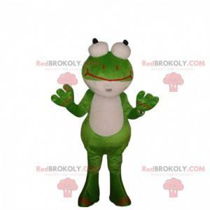 Disfraz de rana verde y blanca con ojos saltones -