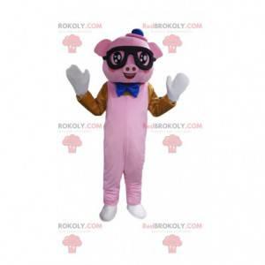 Pink pig costume with glasses - Redbrokoly.com