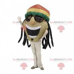 Jamaikanisches Mannmaskottchen mit Dreadlocks - Redbrokoly.com