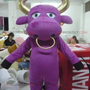 Paarse koe mascotte en gouden stier - Redbrokoly.com