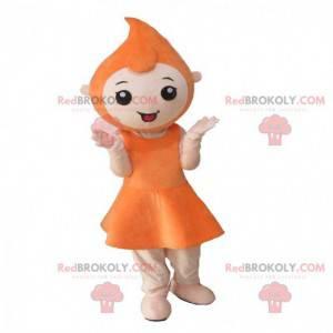 Mascote da menina com a cabeça em forma de gota de laranja -