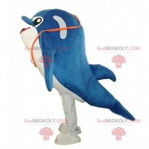 Blauw en wit dolfijnkostuum, dolfijnkostuum - Redbrokoly.com