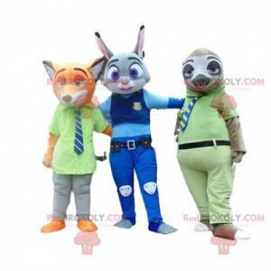 3 Maskottchen, ein Fuchs, ein Kaninchen und ein Faultier aus