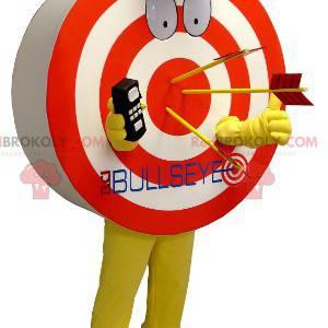 Mascote em forma de um alvo gigante vermelho amarelo e branco -