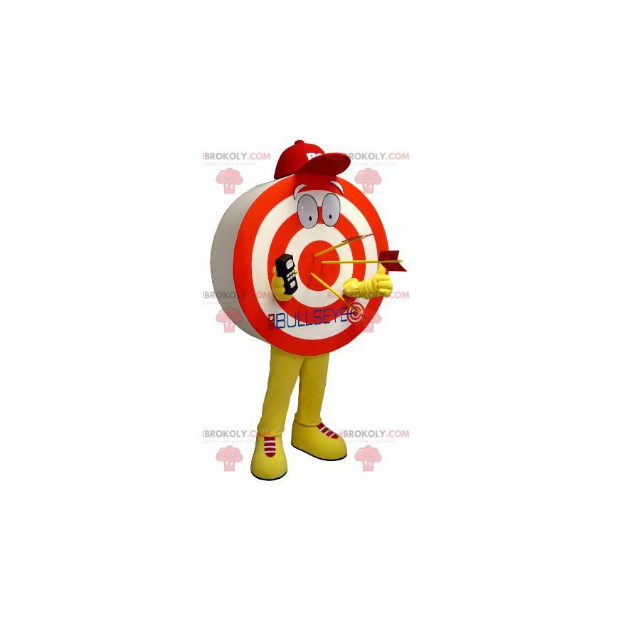 Maskottchen in Form eines riesigen Ziels rot gelb und weiß -