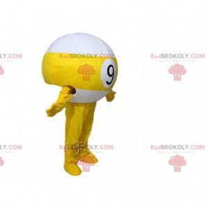Mascotte palla da biliardo gialla e bianca, costume 9 -