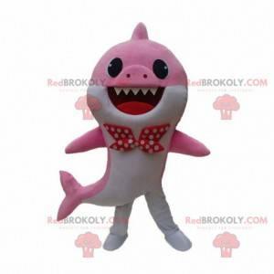Fato de tubarão rosa e branco com gravata borboleta -