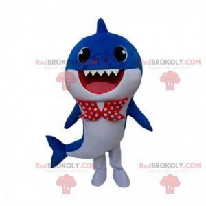 Fato de tubarão azul e branco com gravata borboleta -