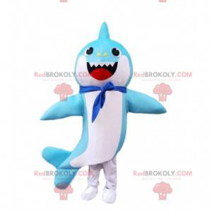 Blue and white shark costume with a scarf around the neck -