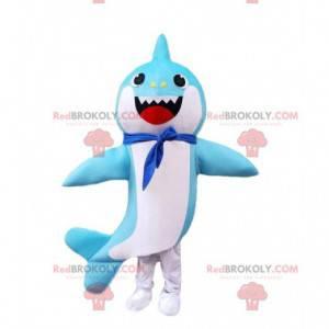 Fato de tubarão azul e branco com lenço no pescoço -