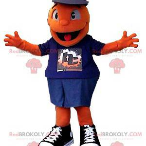 Very smiling orange snowman mascot - Redbrokoly.com