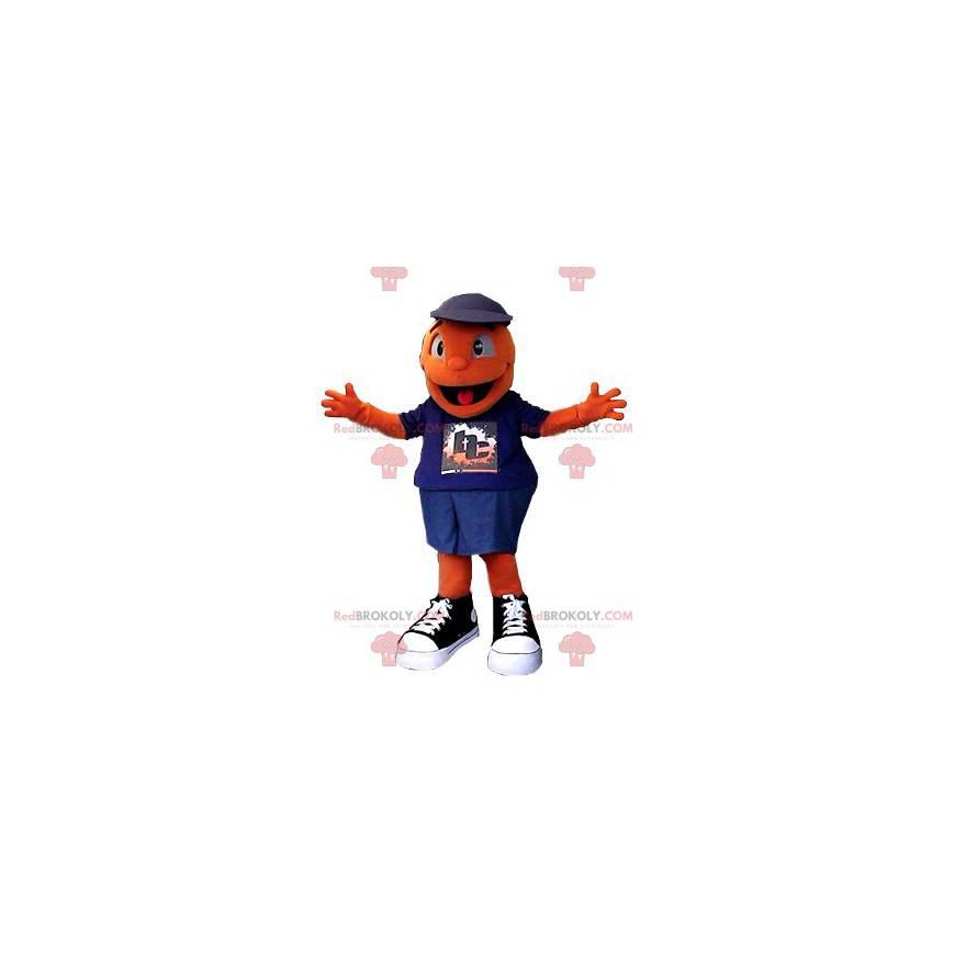 Sehr lächelndes orange Schneemannmaskottchen - Redbrokoly.com