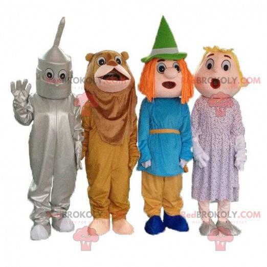 """4 maskoter fra tegneserien """"The Wizard of Oz"""", 4 forkledninger"""
