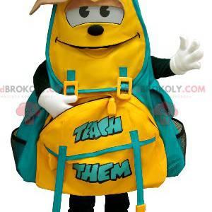 Yellow and green backpack mascot - Redbrokoly.com
