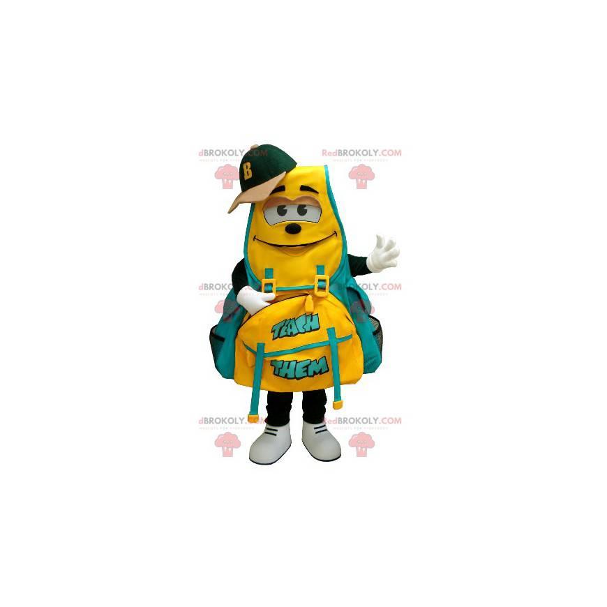 Maskot žluté a zelené batohu - Redbrokoly.com