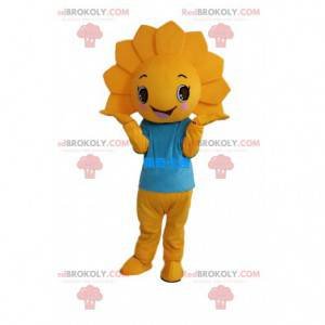 Hermoso disfraz de flor amarilla con camiseta azul -