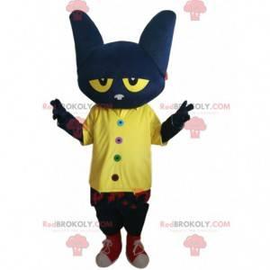 Mascote gato preto muito engraçado, com olhos amarelos -