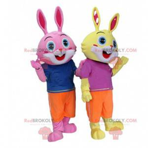 2 bunny costumes, one yellow and one pink, with blue eyes -