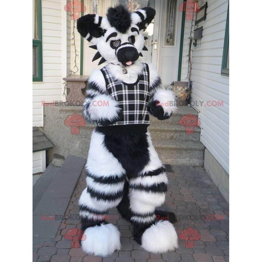 Roztomilý a chlupatý černobílý psí maskot - Redbrokoly.com