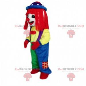 Fato de palhaço muito colorido com peruca vermelha -