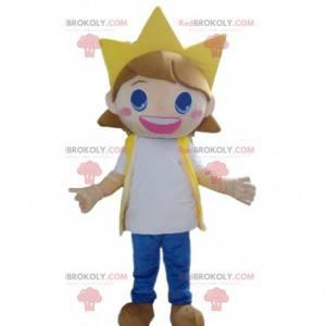 Mascote criança, menina muito sorridente com uma coroa -